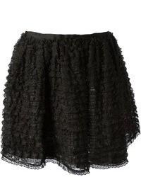 Черная кружевная короткая юбка-солнце