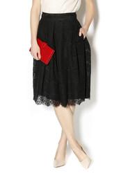 Черная кружевная юбка-миди со складками