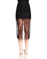 Черная кружевная юбка-миди