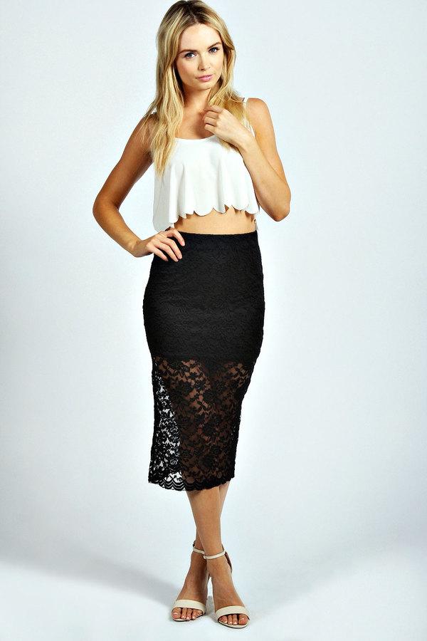 Купить кружевную юбку миди
