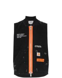 Мужская черная куртка без рукавов с принтом от Heron Preston