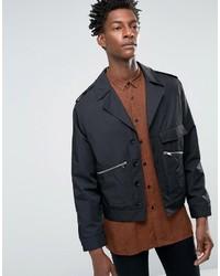 Мужская черная куртка в стиле милитари от Asos