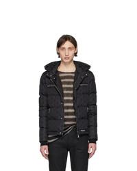 Мужская черная куртка-пуховик с принтом от Balmain