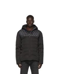 Мужская черная куртка-пуховик с принтом от Fendi