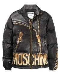 Мужская черная куртка-пуховик с принтом от Moschino