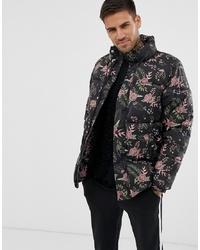 Мужская черная куртка-пуховик с принтом от Pull&Bear