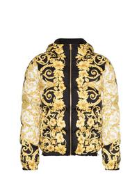 Мужская черная куртка-пуховик с принтом от Versace