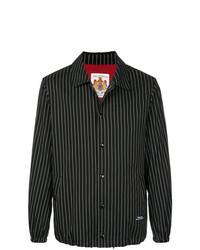Черная куртка-рубашка в вертикальную полоску