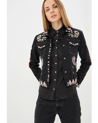 Женская черная куртка-рубашка с принтом от Desigual