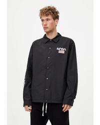 Мужская черная куртка-рубашка от Pull&Bear