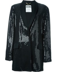 Женская черная куртка с пайетками с украшением от Moschino