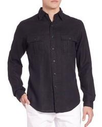 Черная льняная рубашка с длинным рукавом
