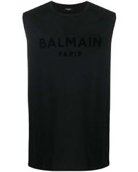 Мужская черная майка с принтом от Balmain