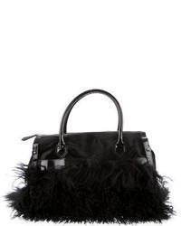 Черная меховая большая сумка