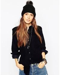 Женская черная меховая вязаная шапка от Asos