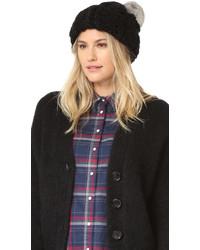 Женская черная меховая вязаная шапка от Rebecca Minkoff