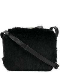 Женская черная меховая сумка через плечо от Robert Clergerie
