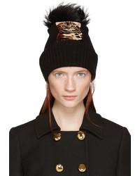 Женская черная меховая шапка от Dolce & Gabbana