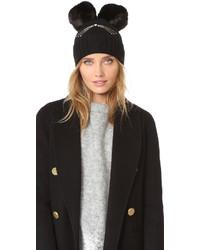 Женская черная меховая шапка от Kate Spade