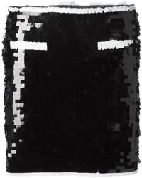 Черная мини-юбка с пайетками