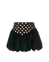 Черная мини-юбка с украшением от Saint Laurent