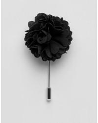 Черная мужская брошь с цветочным принтом