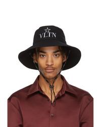 Мужская черная панама с вышивкой от Valentino
