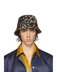 Мужская черная панама с леопардовым принтом от Dries Van Noten