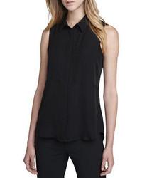 Черная рубашка без рукавов
