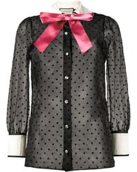 Женская черная рубашка со звездами от Gucci