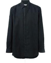 Черная рубашка с длинным рукавом в вертикальную полоску