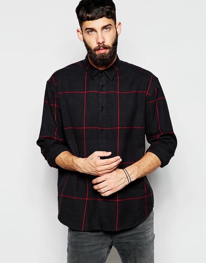 0515fbba949 ... Мужская черная рубашка с длинным рукавом в клетку от Asos ...