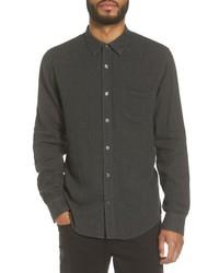 Черная рубашка с длинным рукавом из шамбре