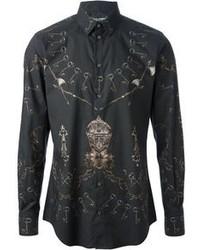 Черная рубашка с длинным рукавом с принтом