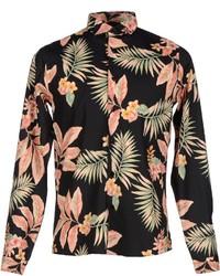 Черная рубашка с длинным рукавом с цветочным принтом