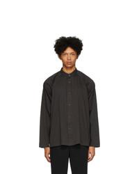 Мужская черная рубашка с длинным рукавом от Homme Plissé Issey Miyake