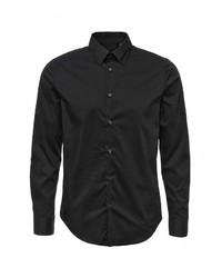Мужская черная рубашка с длинным рукавом от Sisley