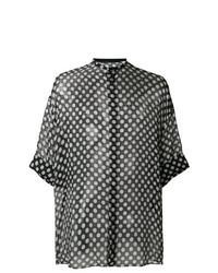 Черная рубашка с коротким рукавом в горошек