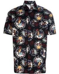 Черная рубашка с коротким рукавом с принтом