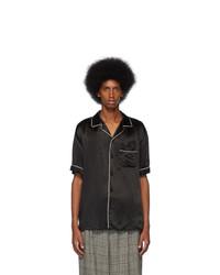 Мужская черная рубашка с коротким рукавом с принтом от Gucci