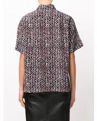 Женская черная рубашка с коротким рукавом с принтом от Marni