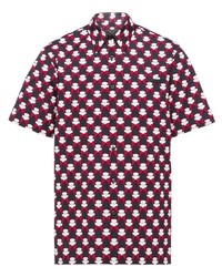 Мужская черная рубашка с коротким рукавом с принтом от Prada