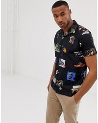 Мужская черная рубашка с коротким рукавом с принтом от PS Paul Smith