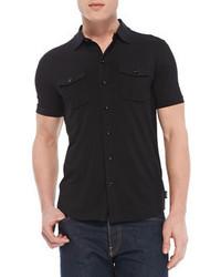 Черная рубашка с коротким рукавом