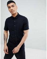 Мужская черная рубашка с коротким рукавом от ASOS DESIGN