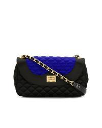Черная сатиновая стеганая сумка через плечо от Moschino