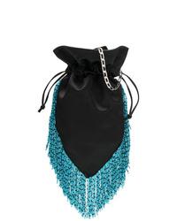 Черная сатиновая сумка через плечо c бахромой от Les Petits Joueurs