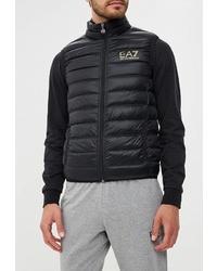 Мужская черная стеганая куртка без рукавов от EA7