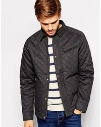 Черная стеганая куртка с воротником и на пуговицах от Selected