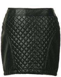 Черная стеганая мини-юбка